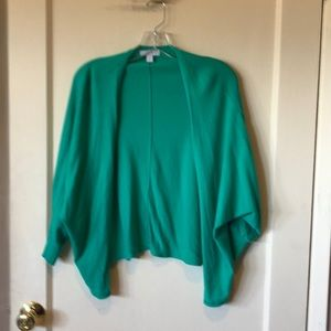 New York & Company green, open bat wing cardigan